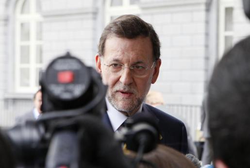 Mariano Rajoy, a su llegada a la cumbre europea que se celebra hoy en Bruselas.