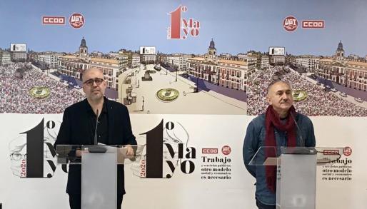 Unai Sordo, secretario general de CCOO y Pepe Álvarez, secretario general de UGT.