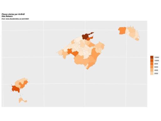 Mapa de la oferta turística registrado por Terraferida en las Baleares.
