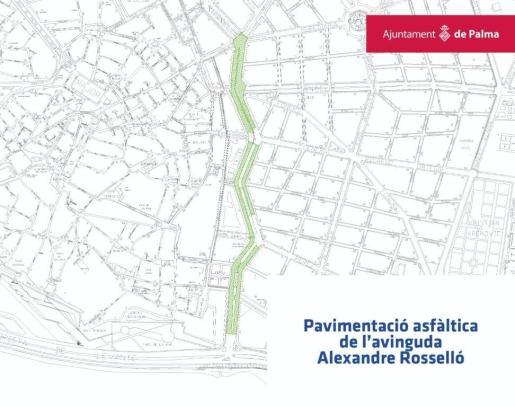 Mapa de Palma donde se indica en verde la zona que se verá afectada desde el lunes por obras de asfaltado.