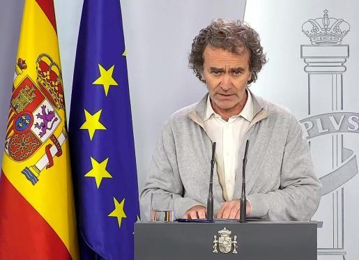 Captura de la señal institucional del Palacio de la Moncloa del director del Centro de Coordinación de Alertas y Emergencias Sanitarias, Fernando Simón.
