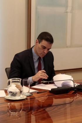 El presidente del Gobierno, Pedro Sánchez (c), mantiene una videoconferencia con los presidentes autonómicos, este domingo, en el Palacio de la Moncloa, en Madrid.