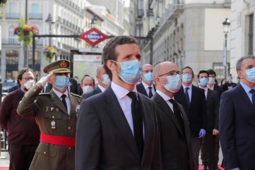 El líder del PP, Pablo Casado, durante el acto de celebración de la fiesta de la Comunidad de Madrid, este pasado sábado 2 de mayo.