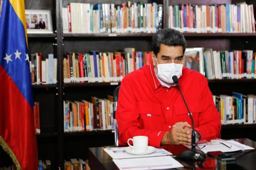 El presidente venezolano, Nicolás Maduro, durante una video conferencia con miembros de su gabinete.