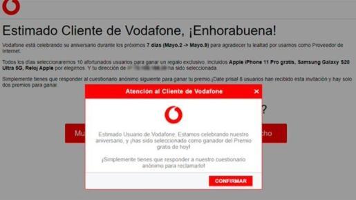 Captura de pantalla del mensaje que aparece en algunos dispositivos y que persigue el robo de información sensible.