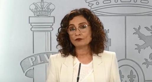 María Jesús Montero, portavoz y ministra de Hacienda, este martes durante su comparecencia.