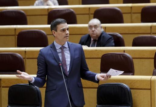 El presidente del Gobierno, Pedro Sánchez, interviene este martes en la sesión de control al Gobierno en el Senado.
