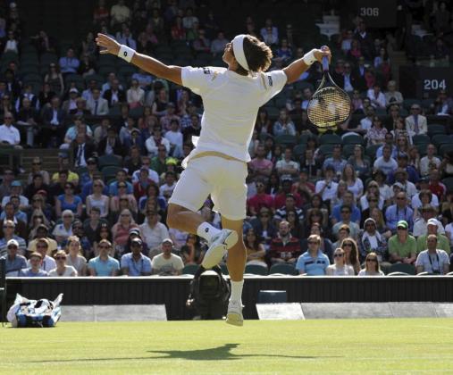 El tenista español David Ferrer devuelve la bola al tenista estadounidense Andy Roddick .