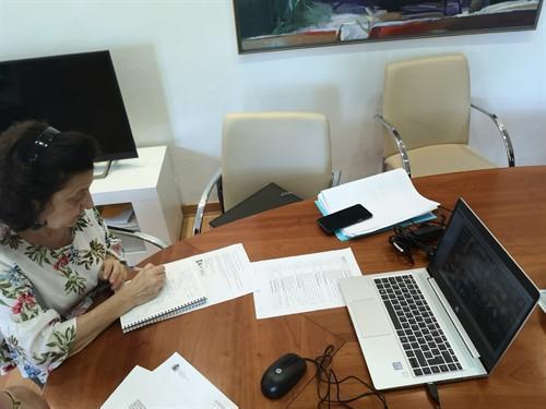 La consellera de Asuntos Sociales y Deportes, Fina Santiago, durante la reunión.
