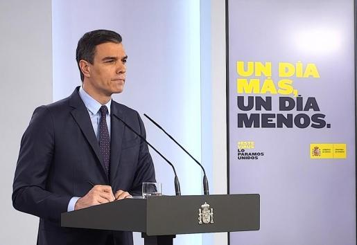 Captura de la señal de vídeo institucional de la Moncloa, del presidente del Gobierno, Pedro Sánchez, durante su comparecencia.