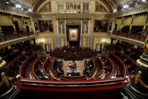 El presidente del Gobierno, Pedro Sánchez durante su intervención en el pleno del Congreso el pasado miércoles donde se autorizó la cuarta prórroga del estado de alarma solicitada por el Gobierno.