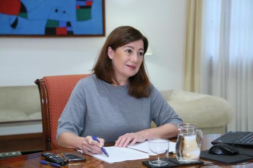 Francina Armengol, durante la videoconferencia de presidentes.