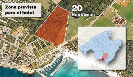 Infografía que muestra el lugar en el que será construído el hotel en la zona de Sa Ràpita.