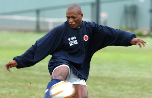 El delantero colombiano Edwin Congo durante un entrenamiento.