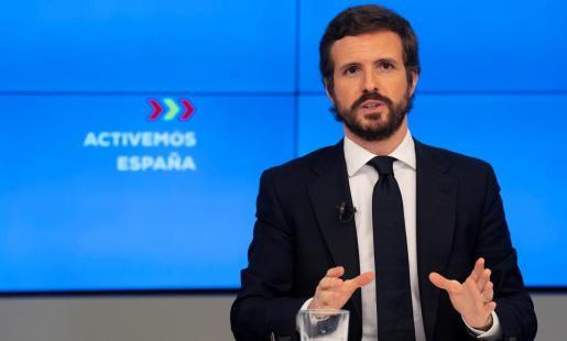 El líder del PP, Pablo Casado, durante la rueda de prensa de este martes en Madrid.
