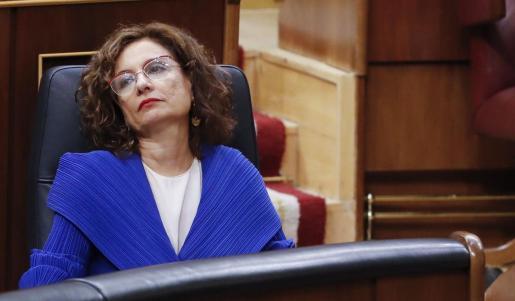 María Jesús Montero, ministra de Hacienda, este miércoles en el Congreso durante la sesión de control al Gobierno.