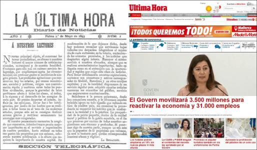 Montaje con la cabecera de La Ultima Hora, fundada hace 127 años, y la web actual.