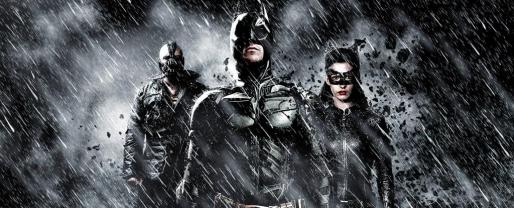 Christian Bale, Tom Hardy y Anne Hathaway en El caballero oscuro.