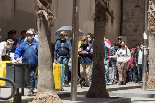Aspecto del comedor social, Reina de la Paz en el barrio del Raval este miércoles en Barcelona.