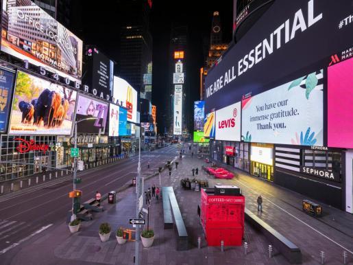 Imagen de Times Square, en Nueva York, durante el confinamiento por la pandemia de coronavirus.