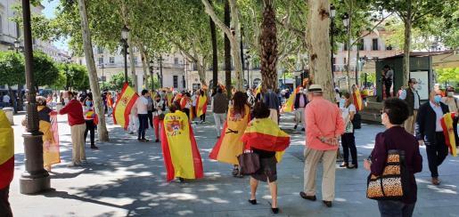Un centenar de personas se han manifestado este sábado contra el Gobierno central y contra su presidente, Pedro Sánchez, en la céntrica Plaza Nueva de Sevilla.