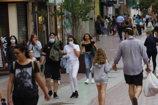 Imagen de una calle de Palma durante el estado de alarma en fase 1 de desescalada.