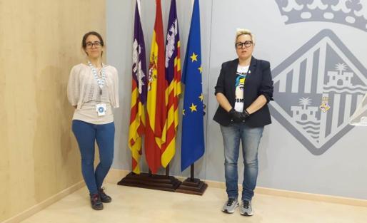 Belén Matesanz y Sonia Vivas, antes de la rueda de prensa.