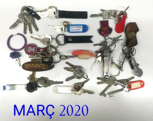 Imagen de algunas de las llaves recuperadas por la Policía Local de Inca.