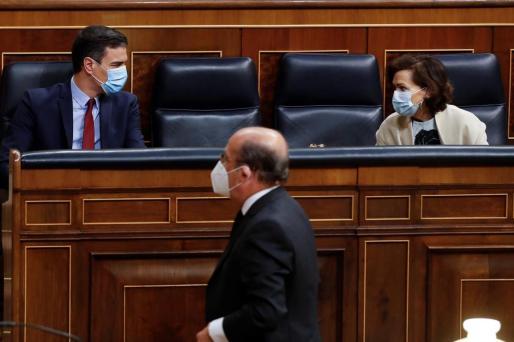 El presidente del Gobierno, Pedro Sánchez, este miércoles, sentado en su escaño.