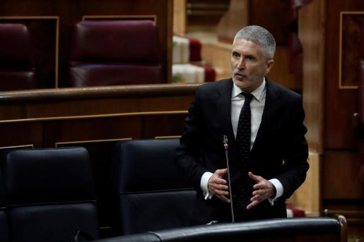 El ministro del Interior, Fernando Grande Marlaska, interviene durante el debate este miércoles en el Congreso de la quinta prórroga del estado de alarma.
