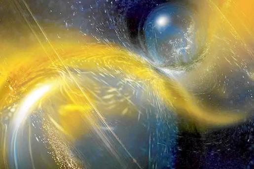 Ilustración del sistema binario de estrellas de neutrones.