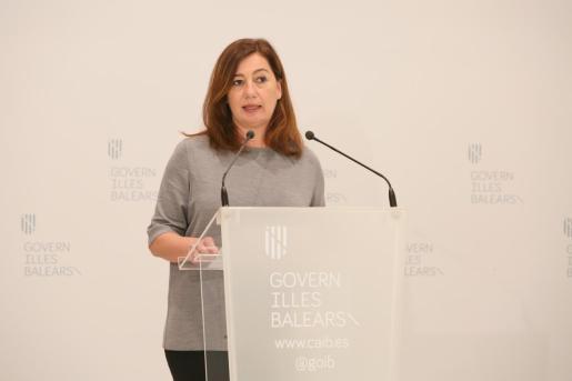Francina Armengol, durante una rueda de prensa.