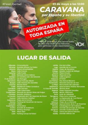 Cartel de la manifestación convocada por Vox en toda España.
