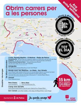 Mapa que ha facilitado el Ajuntament de Palma de las calles que se habilitan para peatones.