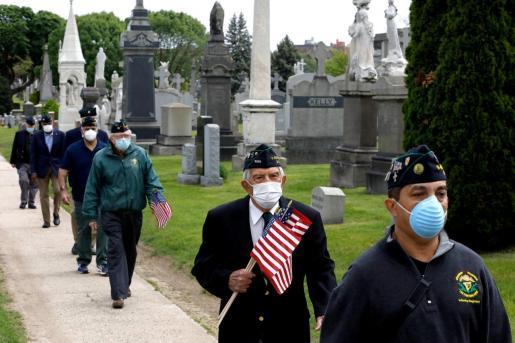 Soldados veteranos celebrando el Memorial Day en Nueva York.