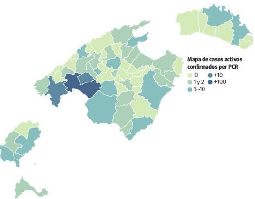 Gráfica de los casos activos de coronavirus en Baleares.