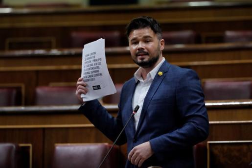 Rufián, este miércoles en su intervención en el Congreso.