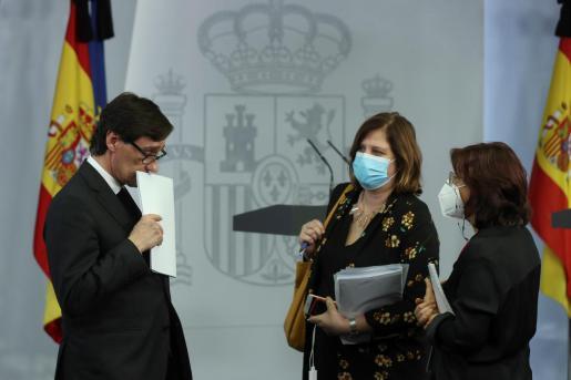 El Ministro de Sanidad, Salvador Illa, tras la rueda de prensa.