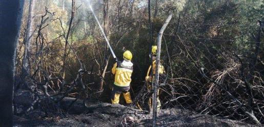Los bomberos sofocando las llamas.