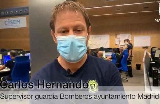 Carlos Hernando, superior de guardia de Bomberos de Madrid.