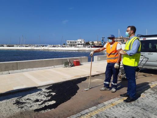El alcalde de Palma ha visitado la obras de Cala Gamba.