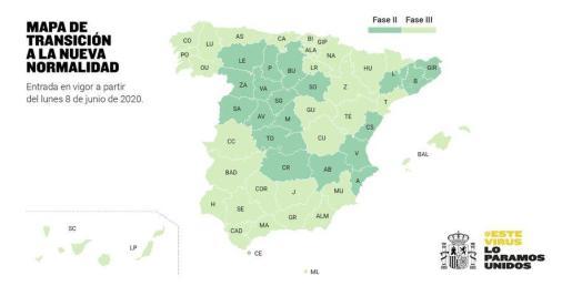 Mapa de la desescalada en España a partir del 8 de junio.