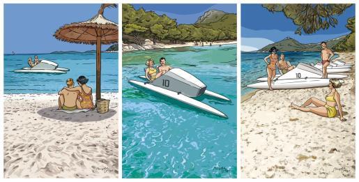 Playas sin turismo masivo, aguas transparentes y la presencia del icónico velomar.
