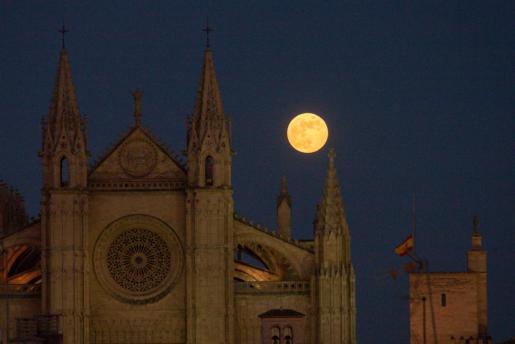 La catedral de Palma con la luna de fondo, este viernes.