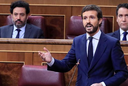 El líder del PP, Pablo Casado, durante su intervención en la sesión de control al Gobierno que este miércoles celebra el Congreso.