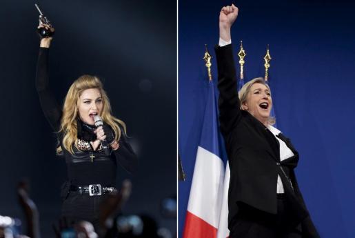 Combo de imágenes que muestra a la cantante estadounidense Madonna (i) durante un concierto en Colonia Alemania el 10 de julio de 2012 y a la líder del partido ultraderechista francés, Marine Le Pen (d) durante la primera ronda de las elecciones francesas en París.