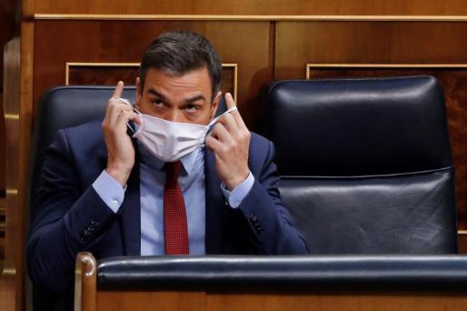 El presidente del Gobierno, Pedro Sánchez, al inicio de la última sesión de control al Ejecutivo bajo el estado de alarma que se celebra este miércoles en el Congreso.
