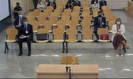 Captura de la señal institucional de la Audiencia Nacional que reanuda este lunes el juicio al mayor de los Mossos Josep Lluís Trapero y a sus superiores por el proceso independentista catalán.