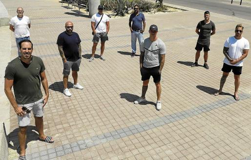 Algunos de los empresarios de la zona de s'Arenal de Palma, el pasado jueves.