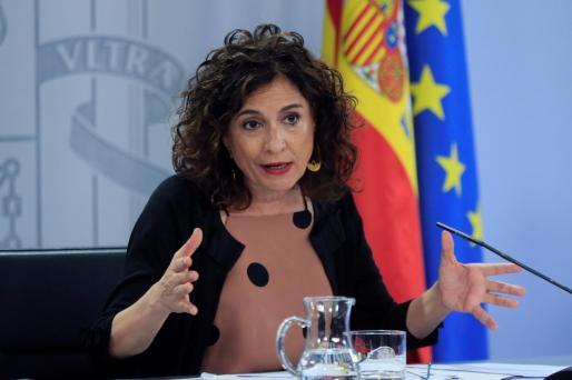 La ministra de Hacienda y portavoz del Gobierno, María Jesús Montero, durante su intervención en la rueda de prensa posterior a la reunión semanal del Consejo de ministros, este martes en Moncloa.